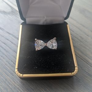 Rose Gold Coloured Crystal Bow Ring size 6